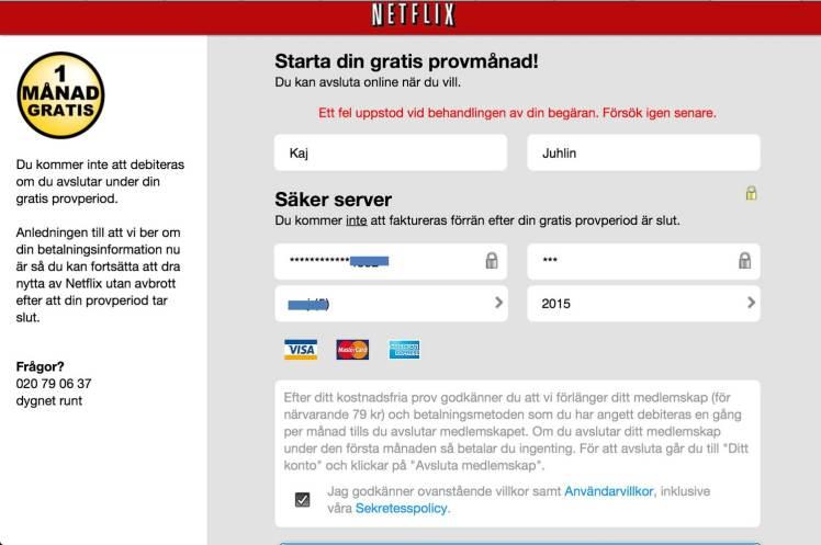 Netflix betalning rev